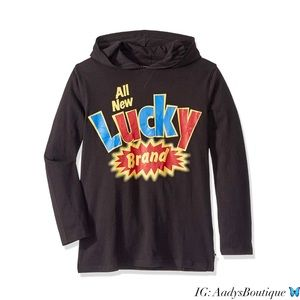 LUCKY BRAND LONG SLEEVE PULLOVER HOODIE BLACK NWT